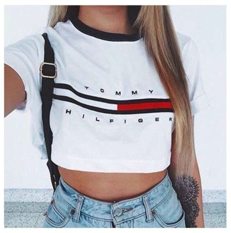 T-shirt crop tops cute girl tommy hilfiger tumblr outfit tommy hilfiger crop top - Wheretoget