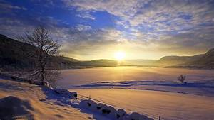 Landscapes lakes winter snow sunset sunrise sky clouds ice ...