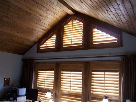 angle top shutters  northern az cabin knotty shutters