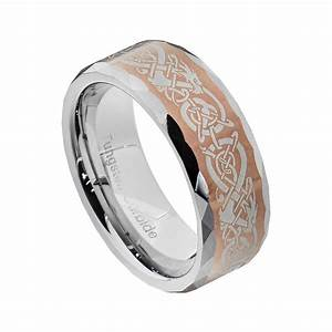 Tungsten Dragon Celtic Scroll Inlay Ring Men39s Wedding Band