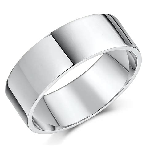 18ct white gold quot flat quot shaped wedding ring flat shaped at elma uk jewellery