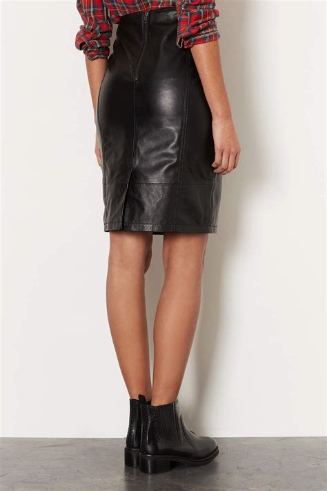 Lyst Topshop Leather Panel Pencil Skirt In Black