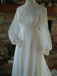 vintage wedding dress 1970s chiffon with alencon lace bodice With 1970 wedding dresses