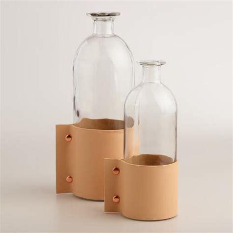 World Market Vases - glass and faux leather vase world market
