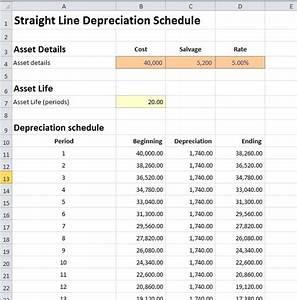depreciation schedule template depreciation spreadsheet With straight line depreciation template