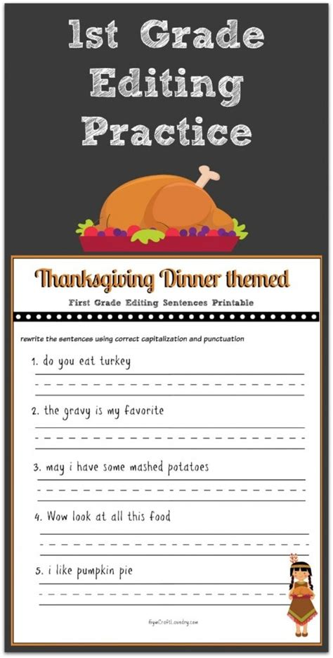 thanksgiving st grade editing printable gym craft laundry