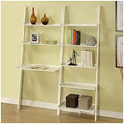 leaning ladder bookshelf with laptop desk white 5 tier 2 piece leaning ladder shelf with laptop desk