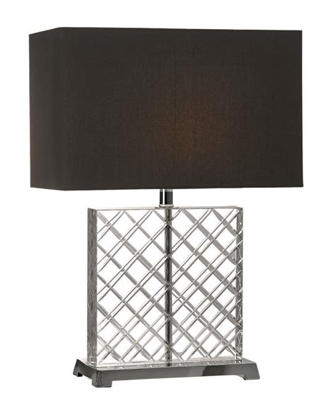tall rectangular l shade b281l square criscross crystal and nickel base table