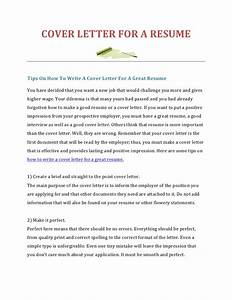 How to write a cover letter for a resume for How to write a resume letter cover