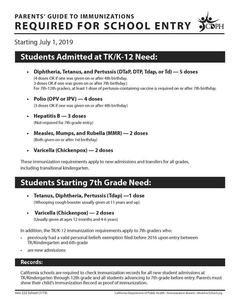 immunizations miscellaneous albany unified school district