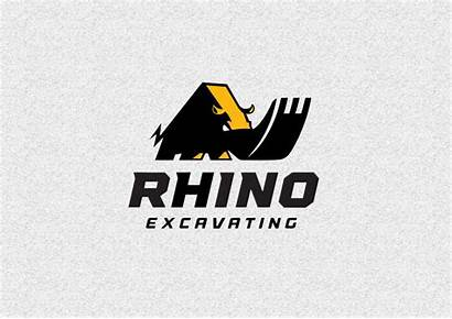 Rhino Excavating Designs Construction Logos Graphic Dribbble
