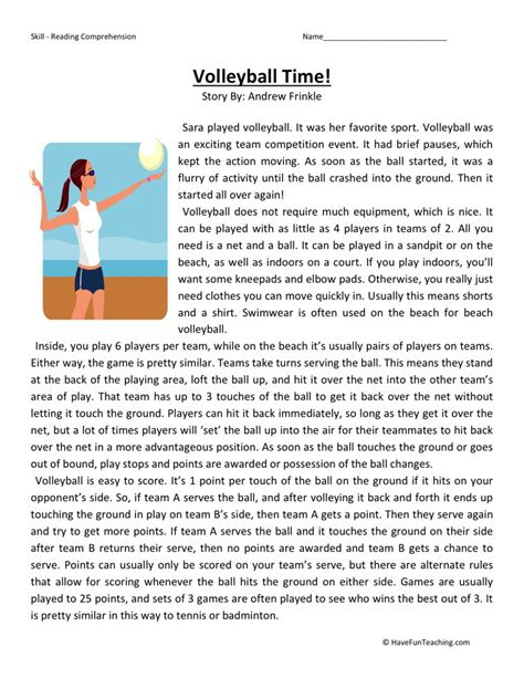 Reading Comprehension Worksheet  Volleyball Time