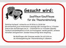 Stellenanzeige Theaterabteilung TV Crumstadt Riedstadt