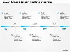 0115 Seven Staged Linear Timeline Diagram Powerpoint