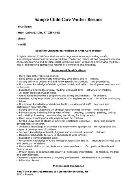 Sle Resume For Personal Care Worker by Child Care Worker Cover Letter Sle Photo A