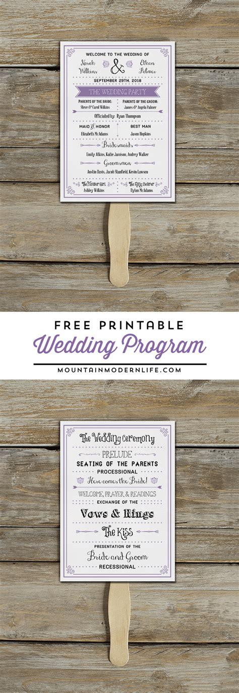free wedding program fan free printable wedding program mountainmodernlife