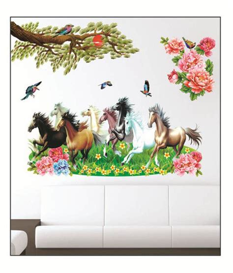 pindia multicolour  running horses design wall sticker