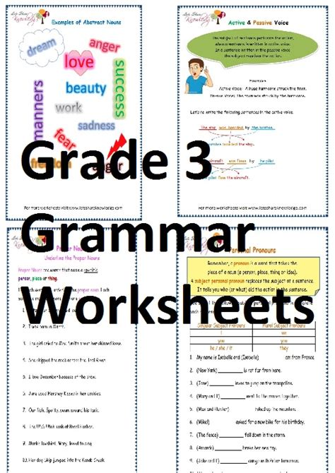 grade 3 english grammar worksheets lets share knowledge
