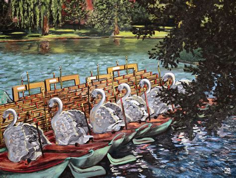 Swan Boats Charles River by Paintings Of Boston Mafiamedia