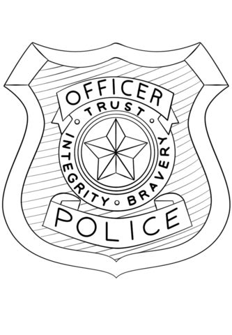 police officer badge coloring page  printable coloring pages