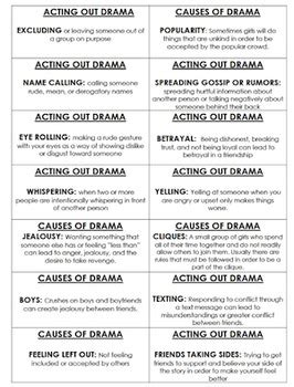 girl drama bingo  school counseling  magical tpt