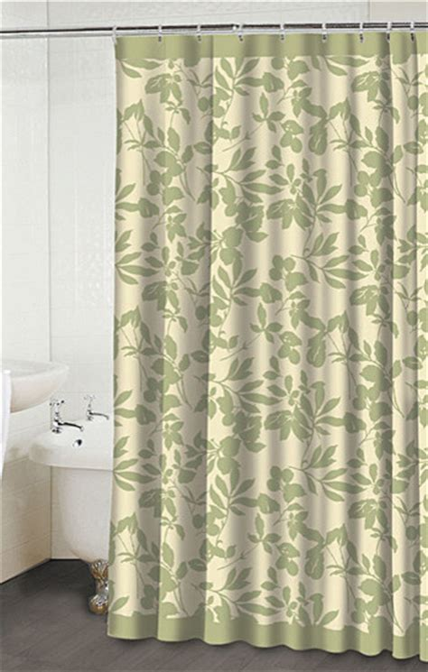 leaves beige green shower curtain contemporary shower