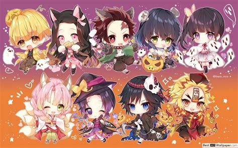 kimetsu  yaiba cute chibi characters hd wallpaper