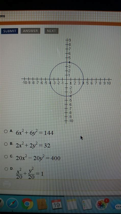 Which of the following equations will produce the graph ...