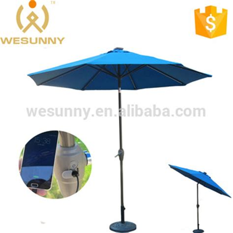 outdoor patio solar charger umbrella with led light usb