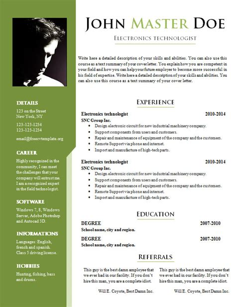 Exle Of Curriculum Vitae Doc by Free Cv Templates 717 722 Free Cv Template Dot Org