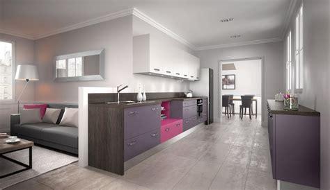 cuisine équipée moderne violette modèle harmonie mélaminé