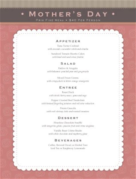 mothers day meal menu mothers day menus