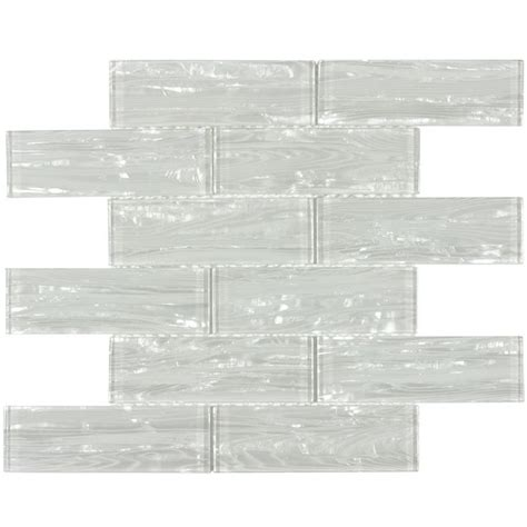 allen roth dune pearl subway mosaic glass wall tile