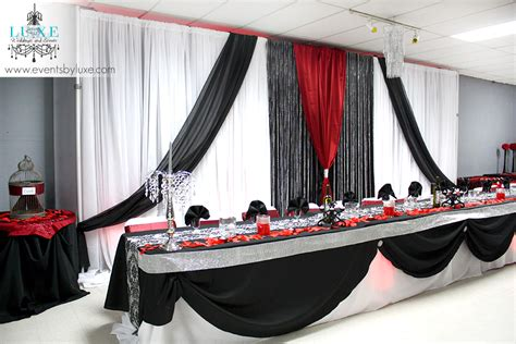 Damask, Black, Red And White Wedding Ceremony And