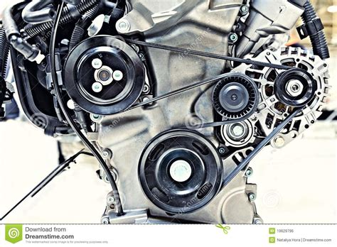 Pulleys With Belt In The Car Motor Stock Photo