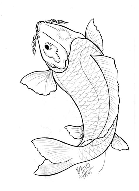Uncolored koi fish with shining forehead tattoo design by