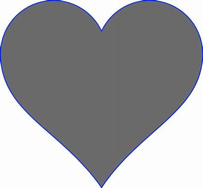 Heart Grey Dark Clipart Clip Solid Clker