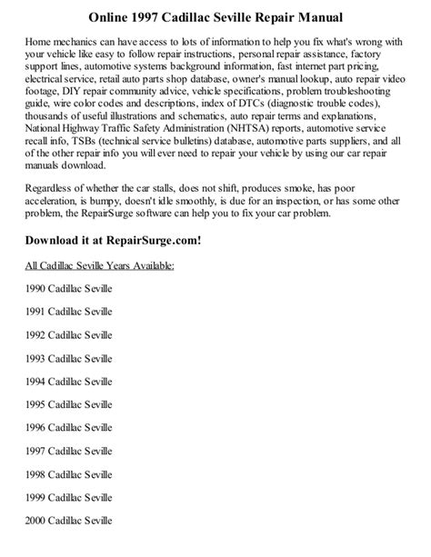 car owners manuals free downloads 1993 cadillac sixty special security system 1997 cadillac seville repair manual online