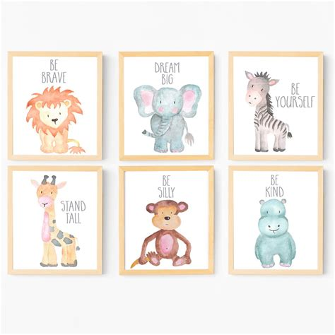 Safari Nursery Art Animal Nursery Decor Watercolor