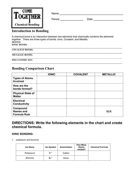 printables of introduction to ionic and covalent bonding