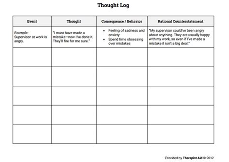 Thought Log (with Example) (worksheet