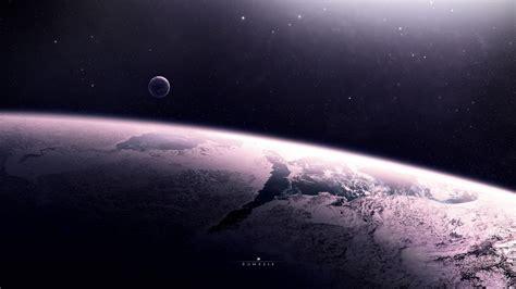 Поверхность Планета спутник атмосфера звезды. Обои для