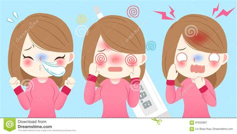 Cartoon Girl Get Cold Stock Vector. Image Of Panic