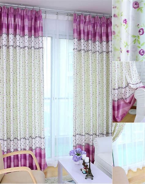 Bedroom Curtains On Sale by Beige And Purple Floral Print Polyester Bedroom Curtains