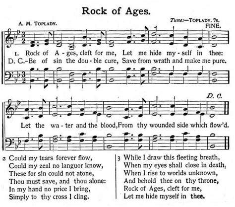 Rock Of Ages Sheet Music Christian Hymn Hymnal Digital