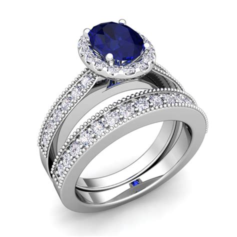 blue sapphire wedding ring sets milgrain sapphire engagement ring bridal set platinum 8x6mm