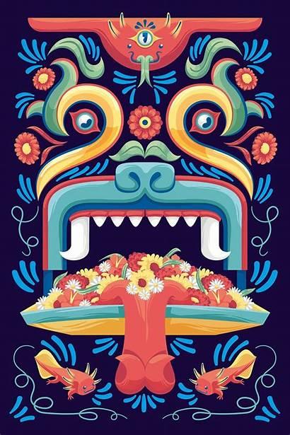 Trajinera Behance Mexico Mexican Arte Mexicano Aztecas