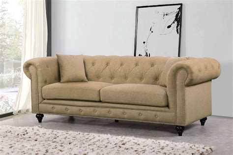 Tufted Loveseats by Kristopher Chesterfield Modern Sand Linen Tufted Sofa