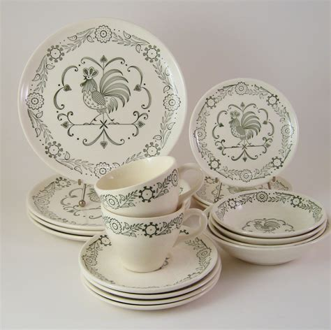 dinnerware sets dishes rooster dish chicken dinner pottery kitchen ware provincial scio paisley decor plate plating stoneware homesfeed etsy floral