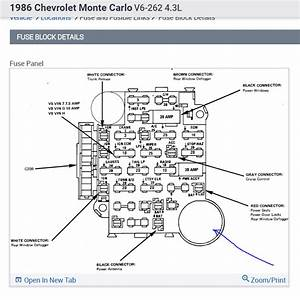 1986 Monte Carlo Fuse Box Diagram